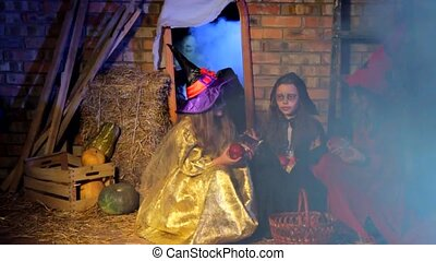 Little Girls In Halloween Costumes Scared By Ghost
