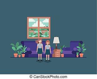 little girls in livingroom vector illustration design