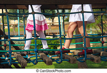 Little girls  in playground