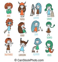 Vector set. The signs of the zodiac are depicted as cute little girls. Hand-drawn.