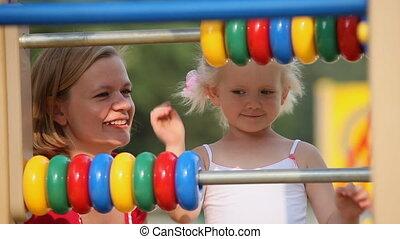 Little girls on playground