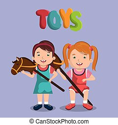 little girls playing with toys characters