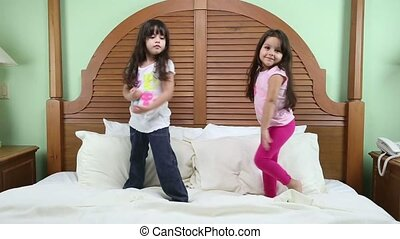 Little girls practicing their training. One for model and...