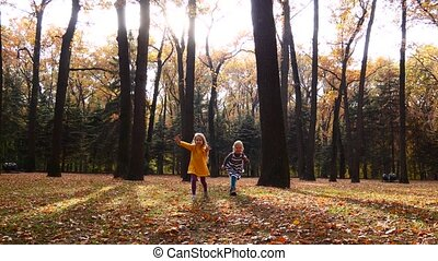 Little girls runs to mother through amazing autumn alley in the park slow mo