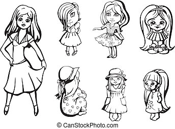 Little girls. Set of black and white vector illustrations.