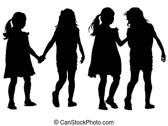 Little girls - Silhouettes of a little girl in a dress on a...