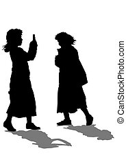 Little girls - Silhouettes of a little girl on a white...