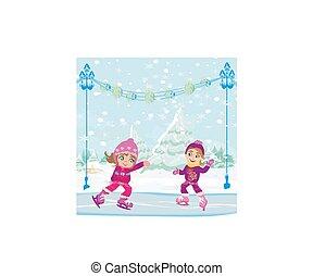 Little girls skating on ice rink