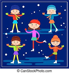 Little girls skating on the blue background. Vector...