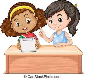 Little girls using computer illustration