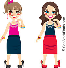 Little Girls Wearing Mother Shoes - Cute little girls...
