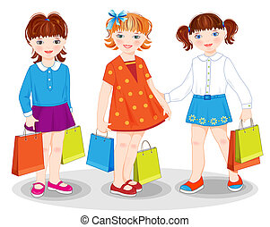 Little girls with bags. Shopping.