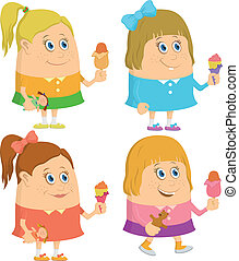 Little girls with ice cream, set
