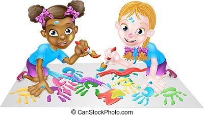 Little Girls With Paints - Two cartoon little girls, one...