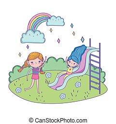 little girls with swimwear on slide in the landscape