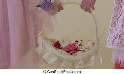 Little girls with wedding petals unrecognisable children slow motion