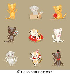 Little Girly Cute Kittens Cartoon Characters Different Activities And Situations Set Of Vector Illustrations