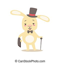 Little Girly Cute White Pet Bunny In Gentleman Costume With Top Hat, Cartoon Character Life Situation Illustration