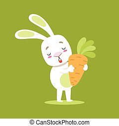 Little Girly Cute White Pet Bunny With Giant Carrot, Cartoon Character Life Situation Illustration