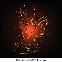 Little glowing angel girl praying