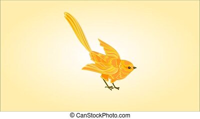 Little golden bird are learning fly - Animation of...