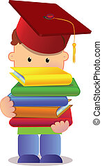 little graduate - little kid holding books and wearing...