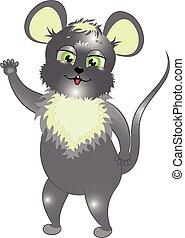 little gray mouse cartoon vector illustration