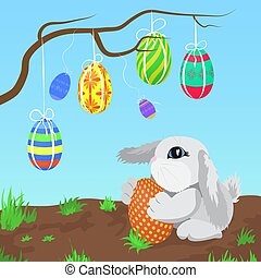 Little gray rabbit with the Easter eggs hanging on a branch vector illustration.