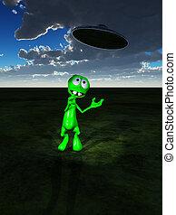 Little Green Alien And UFO