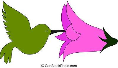 Little green bird, illustration, vector on white background.