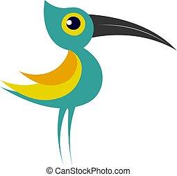 Little green bird vector illustration on white background