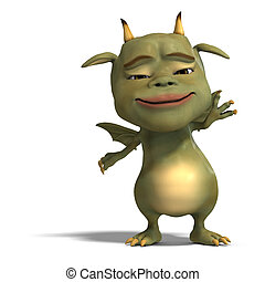 little green cute toon dragon devil