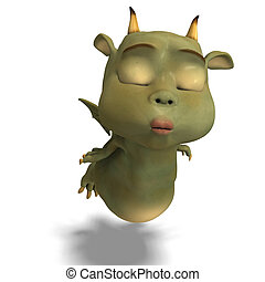 little green cute toon dragon devil - 3D rendering of a...