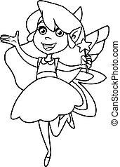Little Green Fairy Line Art