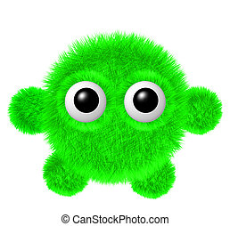 Little green furry monster with arms and legs. Fluffy...