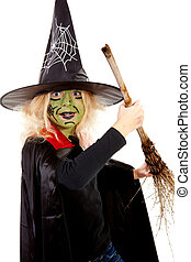 green Halloween witch with broom