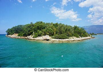 little green island in the Mediterranean sea