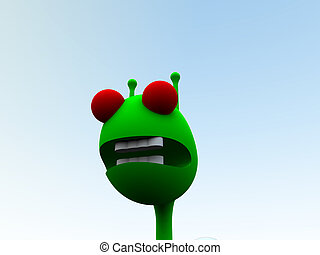 A computer created image of a alien a traditional little green man.