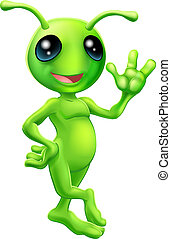 Illustration of a cute cartoon little green man alien mascot with antennae smiling and waving