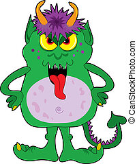 Little Green Monster - Little green monster with horns and...