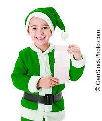 Little green Santa Claus boy showing wish list - Little...