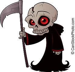 Little Grim Reaper - Vector cartoon illustration of a little...