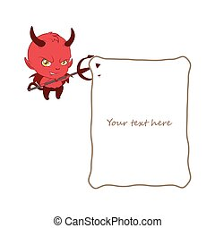 Little grinning devil holding a note with his pitchfork