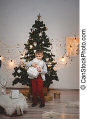 Little guy with a gift in his hands on the background of a Christmas tree