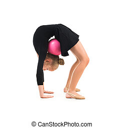 little gymnast doing exercise with ball