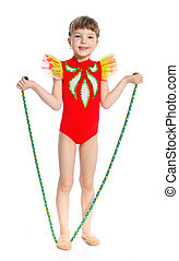 Little gymnast with a rope