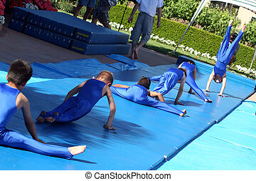 Little gymnasts - Boy team at summer gymnastic camp