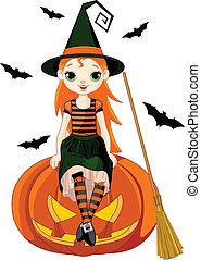 Little Halloween Witch on pumpkin
