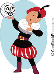 Little boy playing Hamlet in a school play, holding a volleyball with a scull painted on it, vector illustration, no transparencies, EPS 8