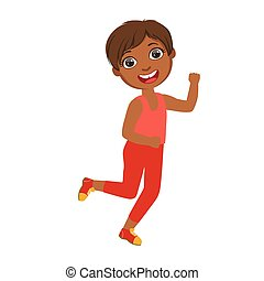 Little happy boy running, boy in motion, a colorful character